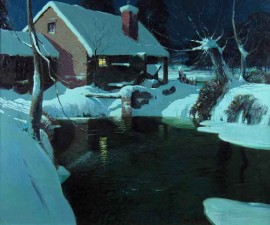 Moonlit Cottage in Winter