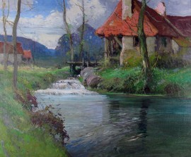 Summer Stream with Old Mill